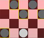 Чёрные шашки против белых