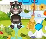 Игра говорящий кот Том убирает в саду