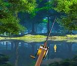 Игра рыбалка у лесного озера